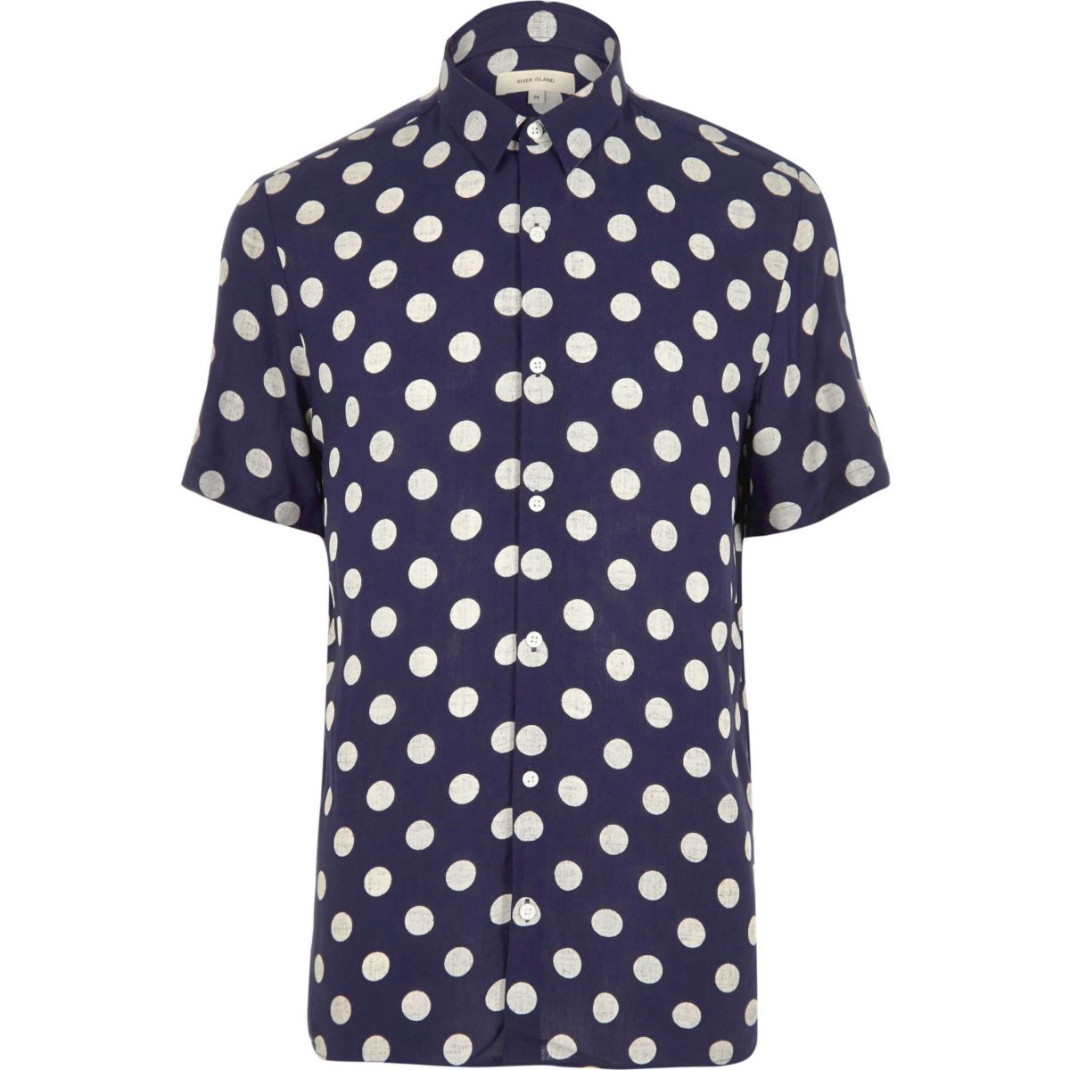 River island mens navy polka dot short sleeve bluewater for Mens polka dot shirt short sleeve