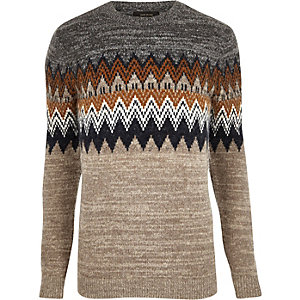 Brown fairisle knit sweater