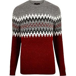Red fairisle knit jumper