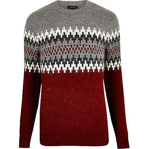 Red fairisle knit sweater