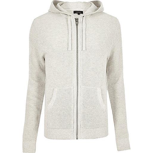 Ecru textured zip up hoodie