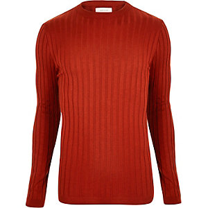 Dark orange muscle fit long sleeve T-shirt