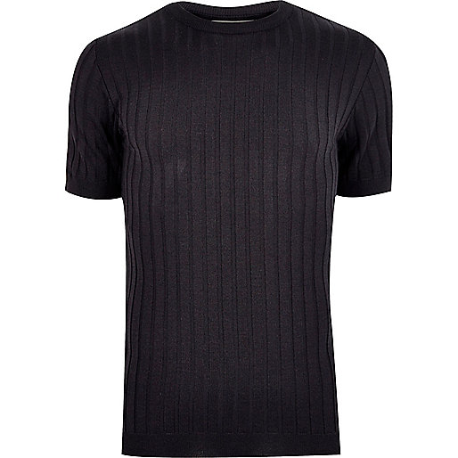 T-shirt à grosses côtes bleu marine coupe ajustée