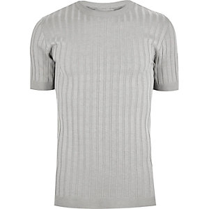 Grey chunky ribbed muscle fit T-shirt
