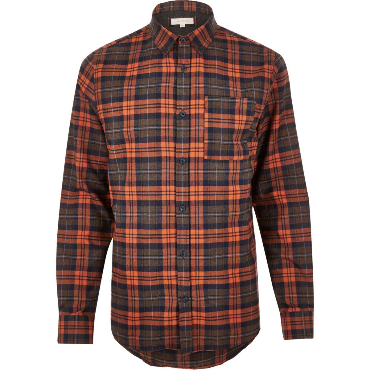River Island Mens Orange Casual Check Shirt Gay Times Uk
