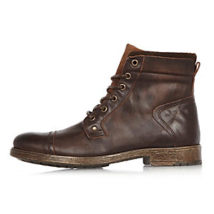 Dark brown leather work boots