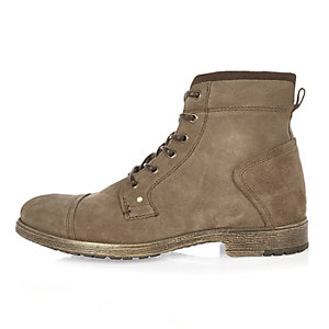 Khaki suede work boots