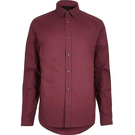 Chemise en coton rouge habillée cintrée