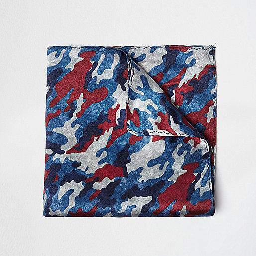Blue camo pocket square