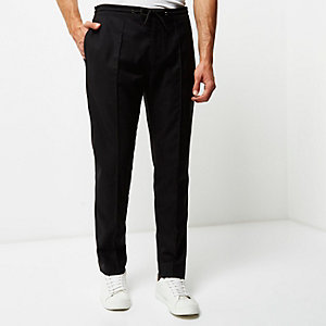 Black slim fit tailored joggers