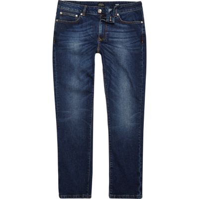 Dylan Slim-fit jeans in donkerblauwe wassing