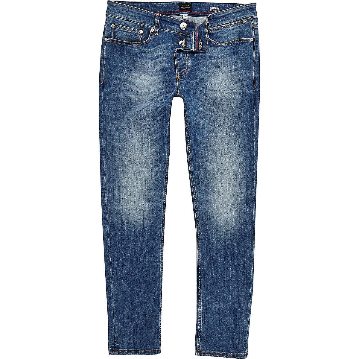 Sid - Middenblauwe wash skinny jeans