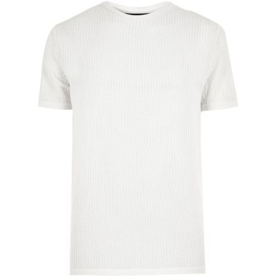 Ecru slim-fit T-shirt met ronde hals