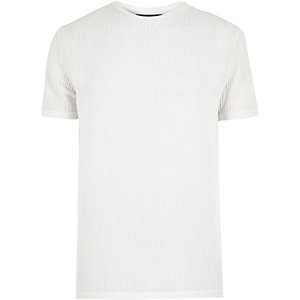 Ecru slim fit crew neck T-shirt