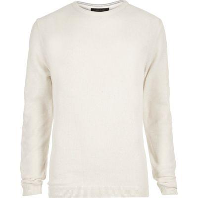 Ecru slim-fit pullover met textuur