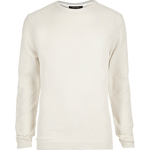 Ecru textured slim fit jumper