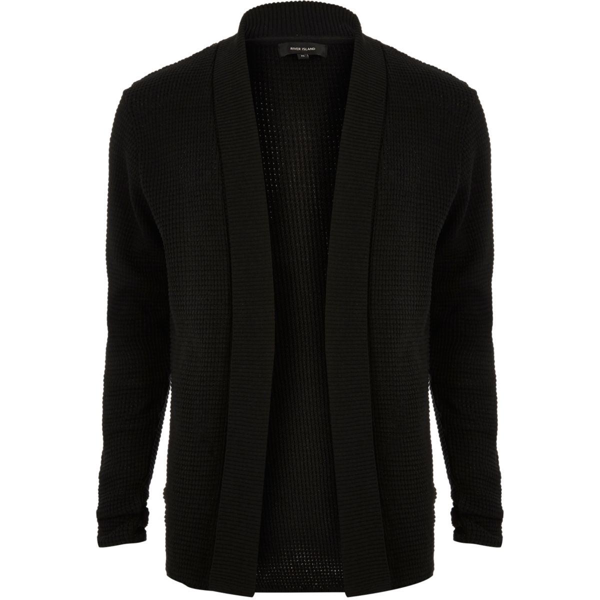 Cardigan noir en maille gaufrée