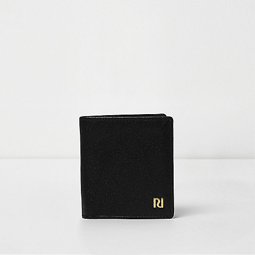 Black textured leather fold out wallet