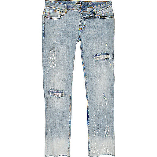 Jean skinny délavé bleu clair