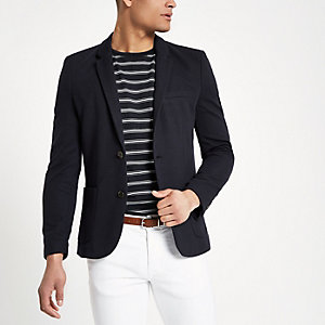 Marineblauwe skinny-fit jersey blazer