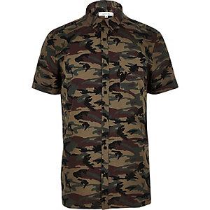 Kaki overhemd met camouflageprint