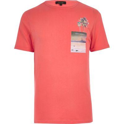 Oranje T-shirt met Santa Monica-print