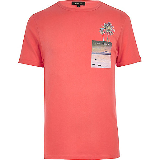 T-shirt orange imprimé Santa Monica