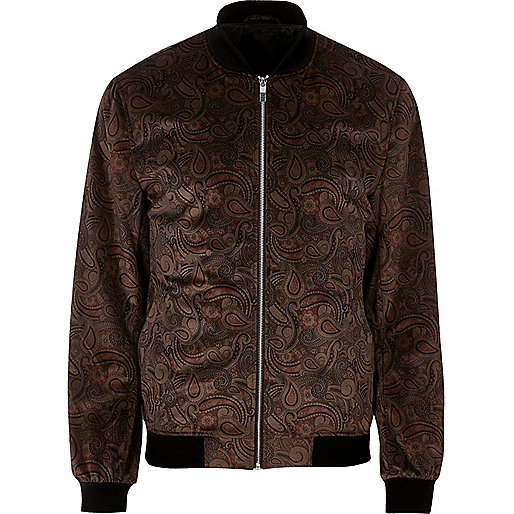 Brown paisley print bomber jacket