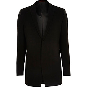 Black leather look panel slim fit blazer