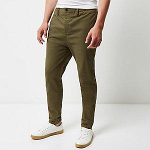 Khaki tapered chino trousers