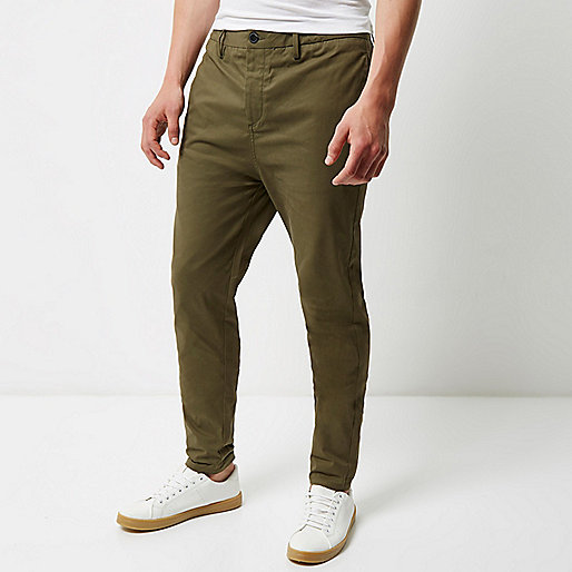 Khaki tapered chino trousers