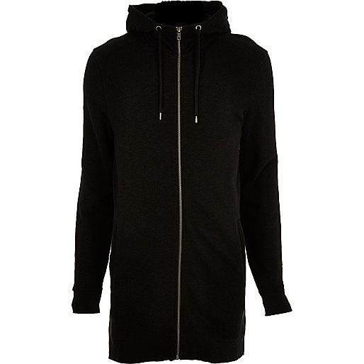 Sweat long noir zippé à capuche