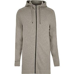 Ecru longline zip up hoodie