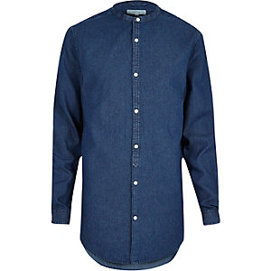 Blue casual longline grandad denim shirt