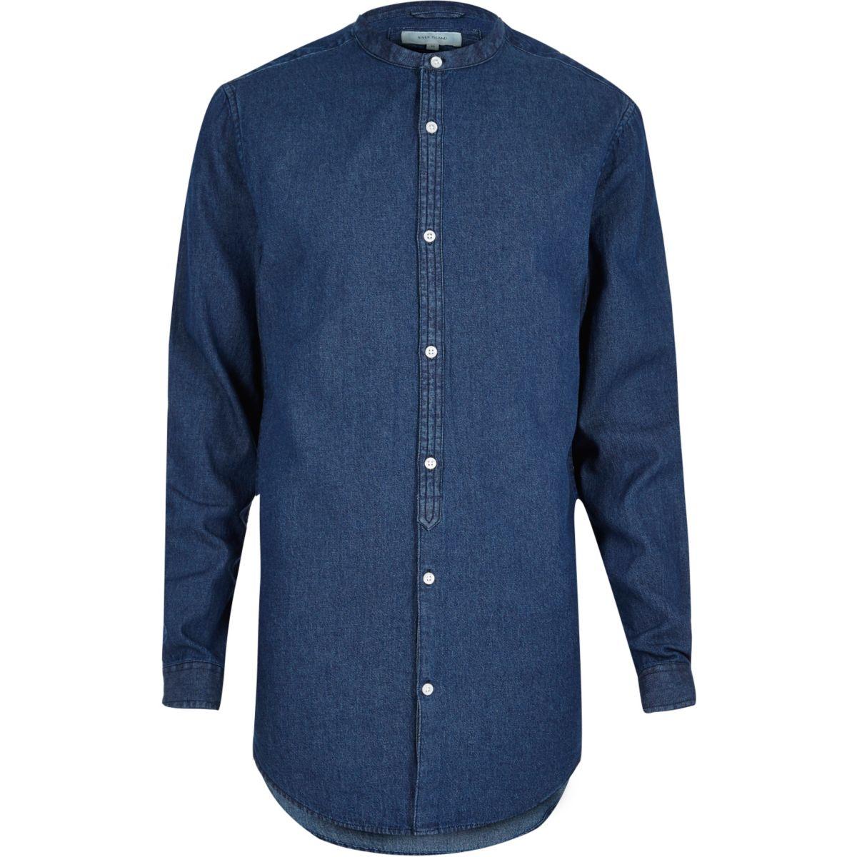 Chemise longue en jean bleu casual à col officier