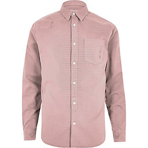 Pink distressed casual denim shirt