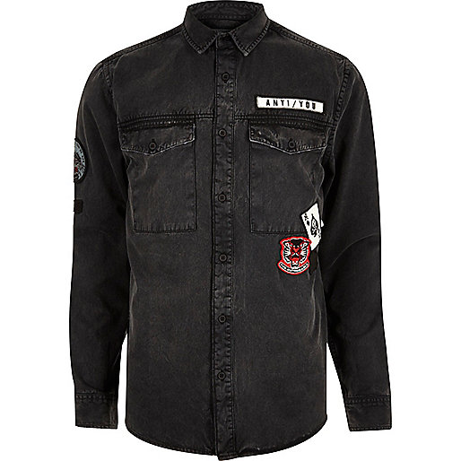 Black washed badge denim shirt