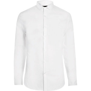 White formal skinny stretch shirt