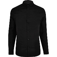 Black formal skinny stretch shirt