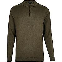 Khaki green long sleeve polo shirt