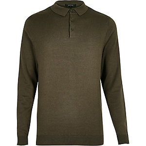 Khaki green long sleeve polo shirt