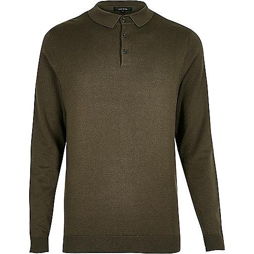 Khaki long sleeve polo shirt