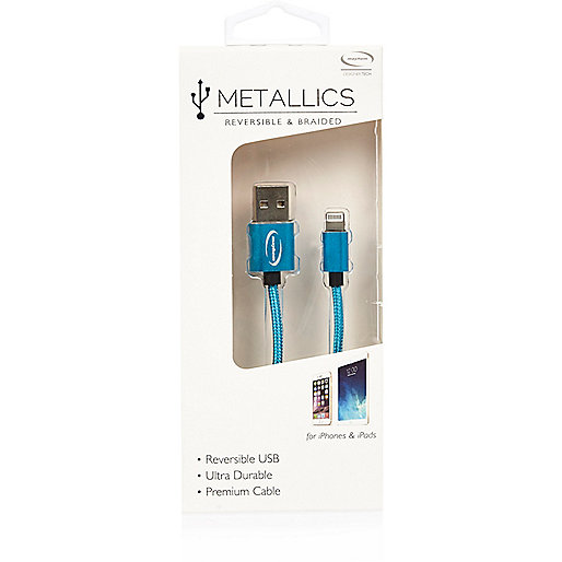 Blaues, doppelseitiges USB-Kabel