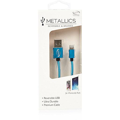 Câble USB réversible bleu