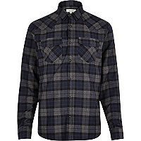 Navy casual check western shirt