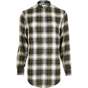 Green casual check longline shirt