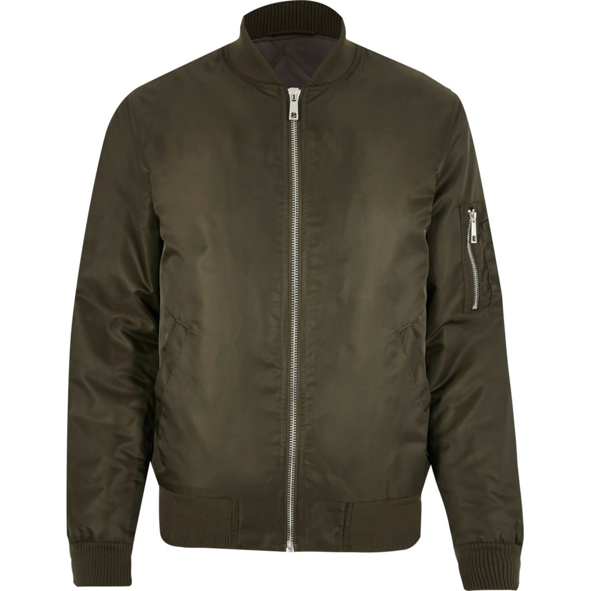 Dark green padded MA1 bomber jacket - Coats & Jackets - Sale - men