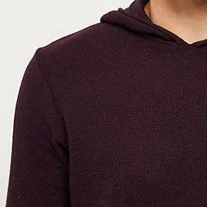Purple textured layered longline hoodie