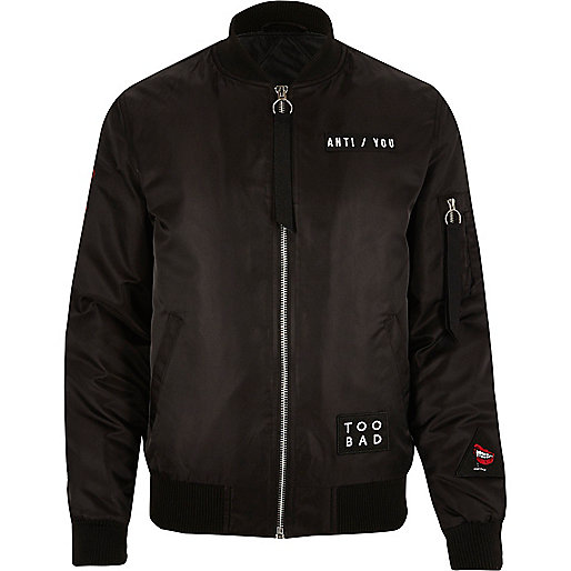 Black badge bomber jacket