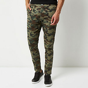 Green washed camo skinny chino trousers